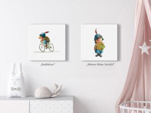 wandbild-kleiner-ritter-strolch-ingo-siegner-motiv-radfahrer